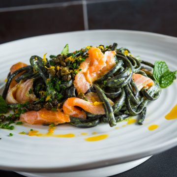 Huon Salmon with squid ink spaghetti