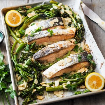 Roasted Huon Salmon with Sprouted Broccoli, Lemon and Almonds
