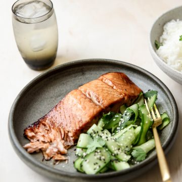 Miso & Molasses glazed Huon Salmon with Cucumber Salad