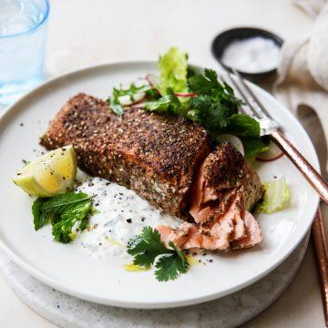 Crispy Moroccan Huon Salmon with Garlic Yoghurt Sauce