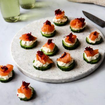 Huon Smoked Salmon & Cucumber bites