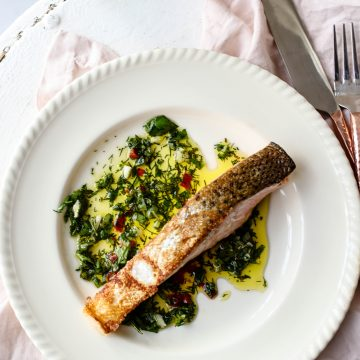Crispy Skin Huon Salmon with Green Herb Dressing