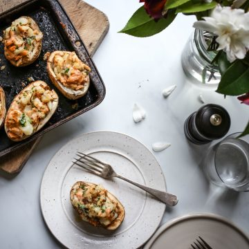 Huon Wood Roasted Salmon Baked Potatoes