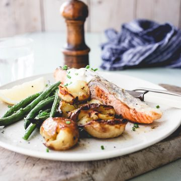 Huon Salmon with Crispy Smashed Potatoes