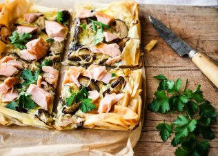 Hot Smoked Huon Salmon and Mushroom Slice