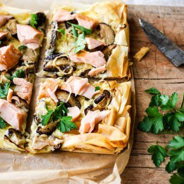 Hot Smoked Huon Salmon and Mushroom Slice