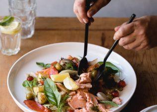 Massimo's Sicilian Salad with Huon Wood Roasted Salmon.