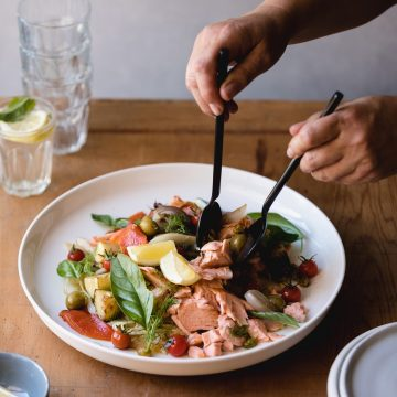 Massimo's Sicilian Salad with Huon Wood Roasted Salmon