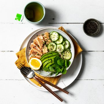 Seared Salmon Bowl with Wasabi and Soy Dressing