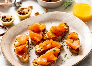 Huon Salmon Toasts with Whipped Miso-Lemon Butter