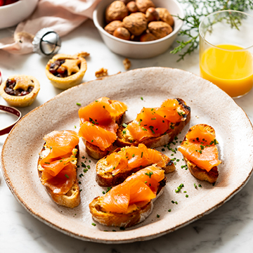 Huon Salmon Toasts with Whipped Miso- Lemon Butter
