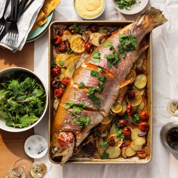Roasted Whole Trout with Potatoes and Preserved Lemon Mayonnaise
