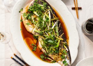 """""""Chinese Style"""" Steamed Salmon with Ginger and Spring Onions"""