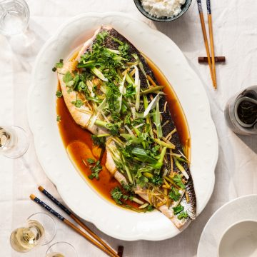 """Chinese Style"" Steamed Salmon with Ginger and Spring Onions"