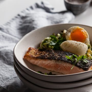 Asparagus & Zucchini Salad with Huon Salmon