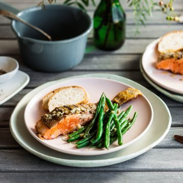 Grilled Ocean Trout with green beans and lime & pepper butter