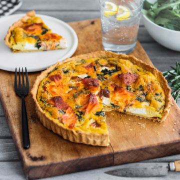 Ocean Trout and Spinach Tart with Soft Goats Cheese