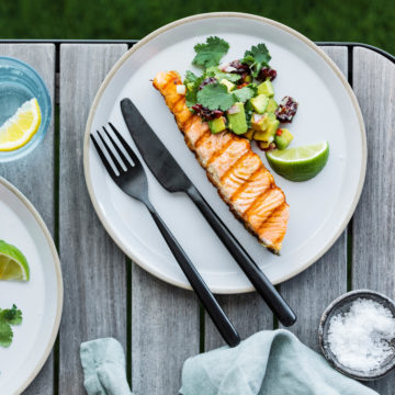 BBQ Huon Salmon with Cranberry & Avocado Salsa