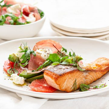 Crispy Skin Huon Salmon with Ruby Grapefruit, Prosciutto and Persian Feta Salad