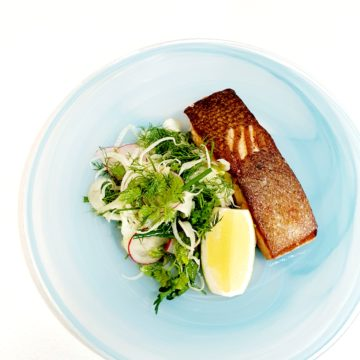 Crispy Skin Huon Salmon with Shaved Fennel and Herb Salad