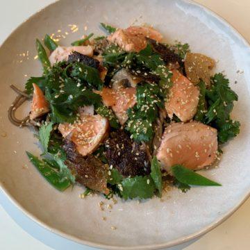 Soba Noodles with Huon Salmon, Ponzu sauce, Snow Peas and Wasabi