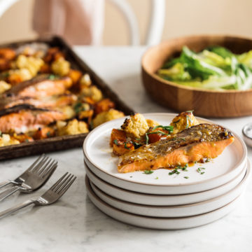 Honey Mustard Roasted Ocean Trout with sweet potato & cauliflower