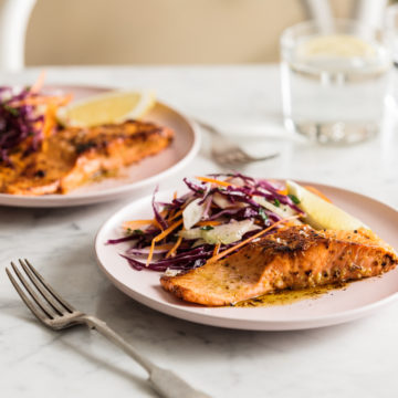Pan fried Ocean Trout with Hot Lemon Butter and Winter Slaw