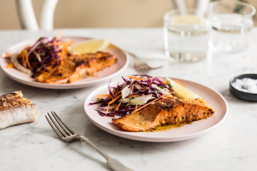 Pan fried Trout with Hot Lemon Butter and Winter Slaw
