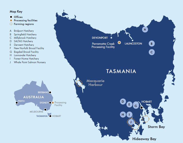 Map of Tasmania with site locations