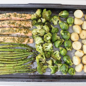 Garlic & Herb Salmon Tray Bake with Greens and Potatoes