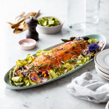 Slow Roasted Salmon with Tarragon and Cucumber & Fennel Salad