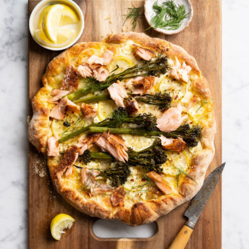 Blackened Spice Wood Roasted Salmon Pizza with Lemon and Broccolini