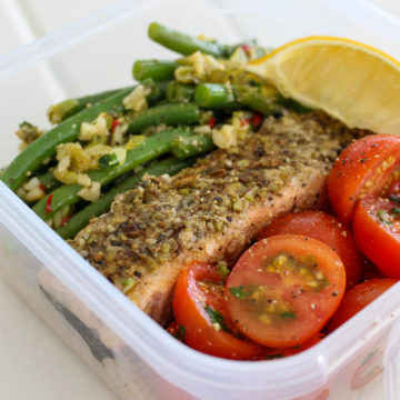 Dukkah Crusted Huon Salmon Portions with Zesty Veggies