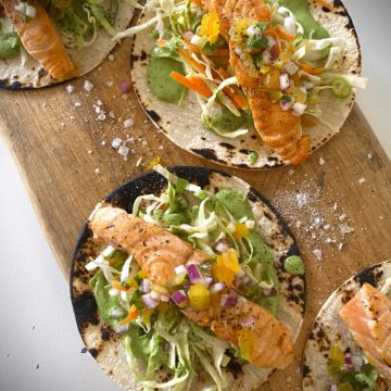 Huon Salmon Taco's with Coriander Dressing and Salsa